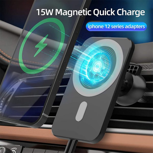 15W Fast Charging Magnetic Wireless Car Charger Stand Holder for QI Phones iPhone 12 Mini Pro Max_17