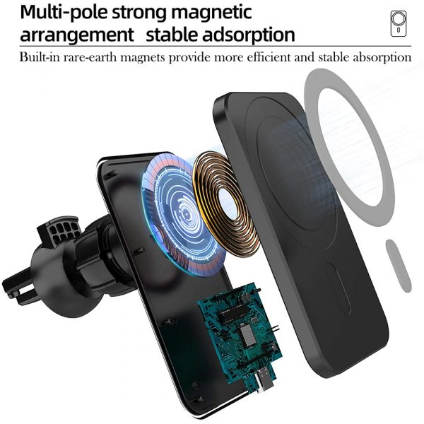 15W Fast Charging Magnetic Wireless Car Charger Stand Holder for QI Phones iPhone 12 Mini Pro Max_5