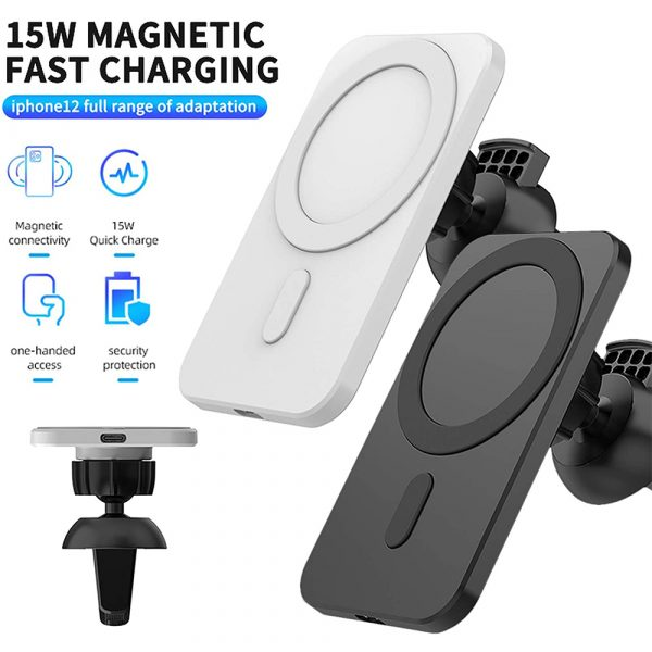 15W Fast Charging Magnetic Wireless Car Charger Stand Holder for QI Phones iPhone 12 Mini Pro Max_8