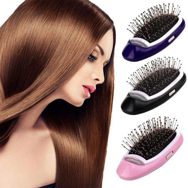 Negative Ion Battery Operated Hair Brush Styling Hair Comb and Scalp Massager_2