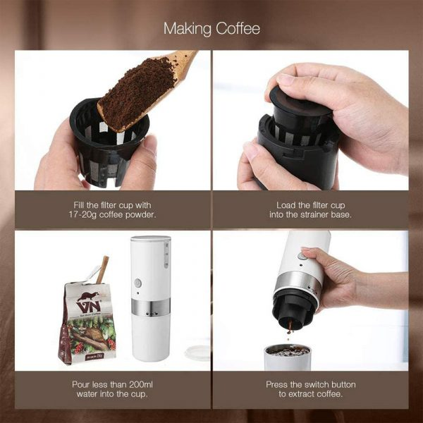 Easy Operating USB Rechargeable Automatic Portable Espresso Coffee Machine_4