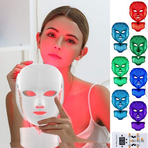 7 Changeable Color LED Light Photon Face and Neck Mask Rejuvenating Facial Therapy Machine_12