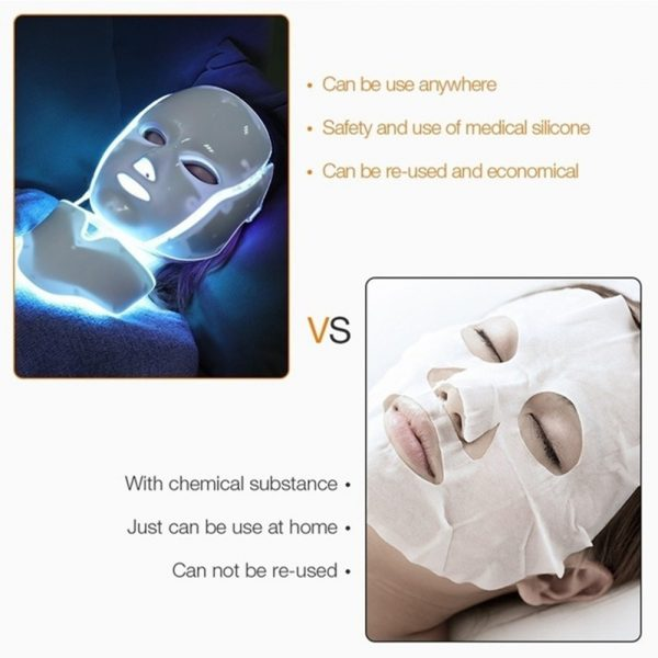 7 Changeable Color LED Light Photon Face and Neck Mask Rejuvenating Facial Therapy Machine_16
