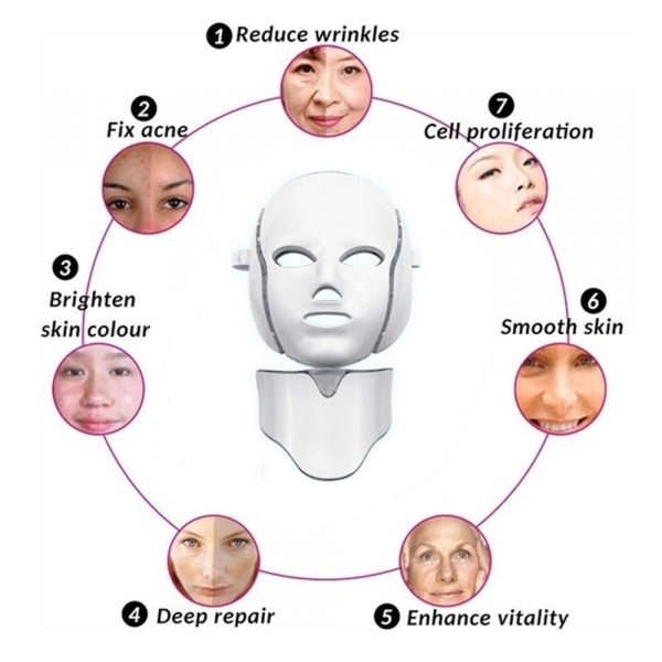 7 Changeable Color LED Light Photon Face and Neck Mask Rejuvenating Facial Therapy Machine_6