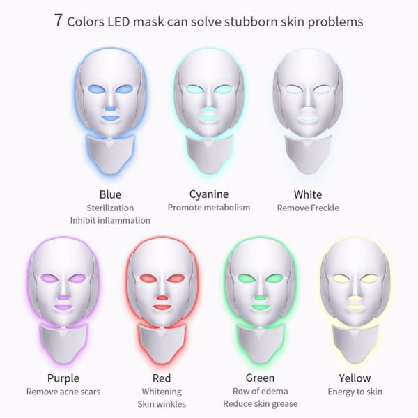 7 Changeable Color LED Light Photon Face and Neck Mask Rejuvenating Facial Therapy Machine_9