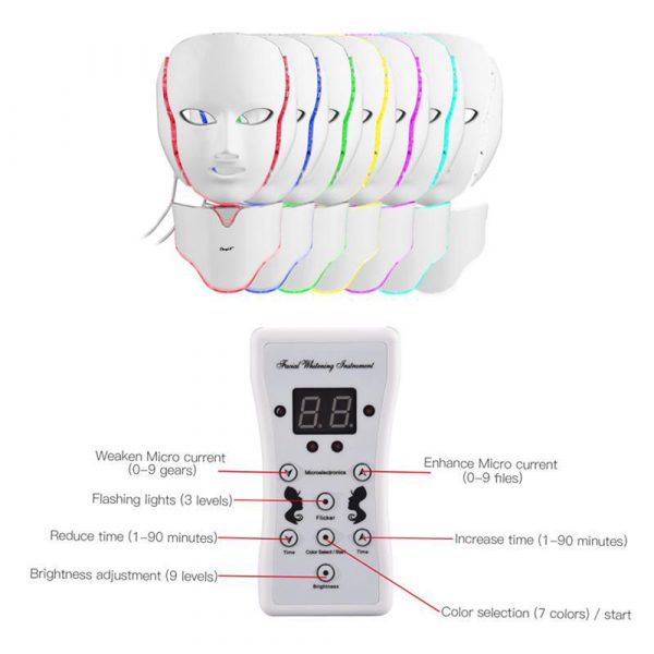 7 Changeable Color LED Light Photon Face and Neck Mask Rejuvenating Facial Therapy Machine_10