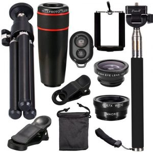 10 in 1 Kit 180 degree Fisheye Lens 0.65 Wide Angle Lens 12x Magnifying for Mobile Phones