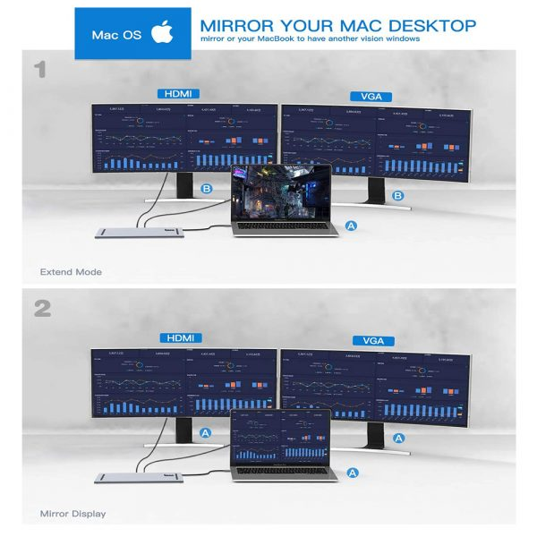 10-in-1 Type-C USB Hub Docking Station USB 3.0 to HDMI/Network Port/VGA/PD Expansion_5