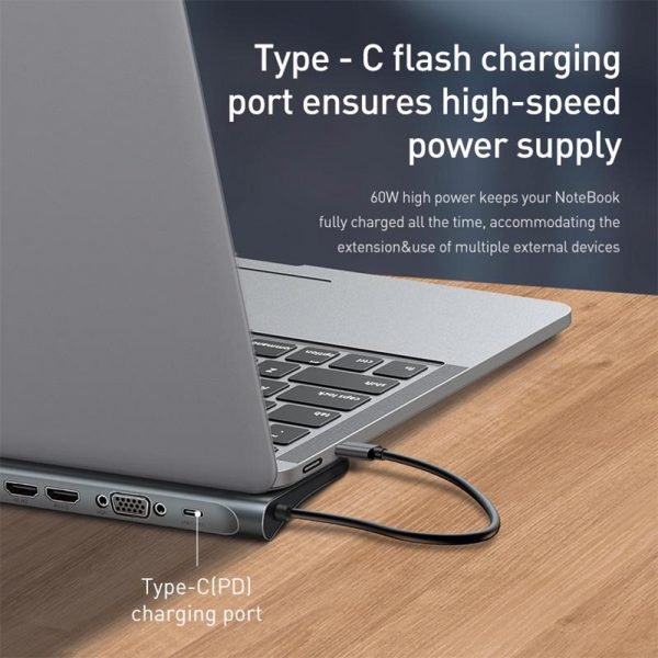 10-in-1 Type-C USB Hub Docking Station USB 3.0 to HDMI/Network Port/VGA/PD Expansion_7
