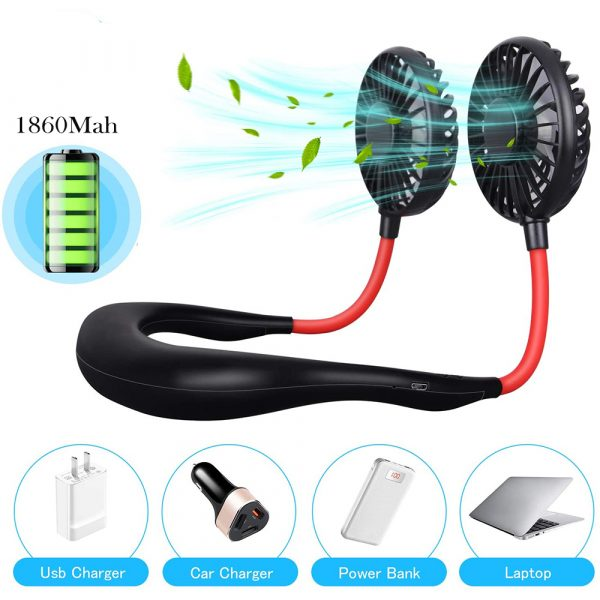 2-in-1 Hanging and Desktop Standing 360 Degree Adjustable Rechargeable Portable Neck Fan_5