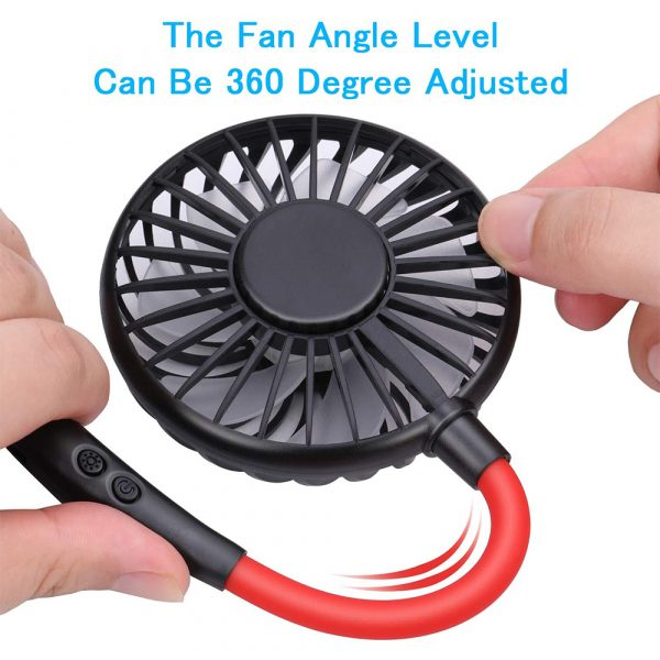 2-in-1 Hanging and Desktop Standing 360 Degree Adjustable Rechargeable Portable Neck Fan_7