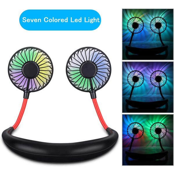 2-in-1 Hanging and Desktop Standing 360 Degree Adjustable Rechargeable Portable Neck Fan_8