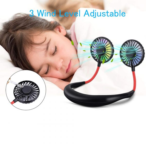 2-in-1 Hanging and Desktop Standing 360 Degree Adjustable Rechargeable Portable Neck Fan_9