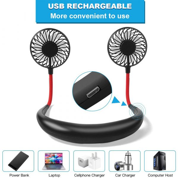 2-in-1 Hanging and Desktop Standing 360 Degree Adjustable Rechargeable Portable Neck Fan_11