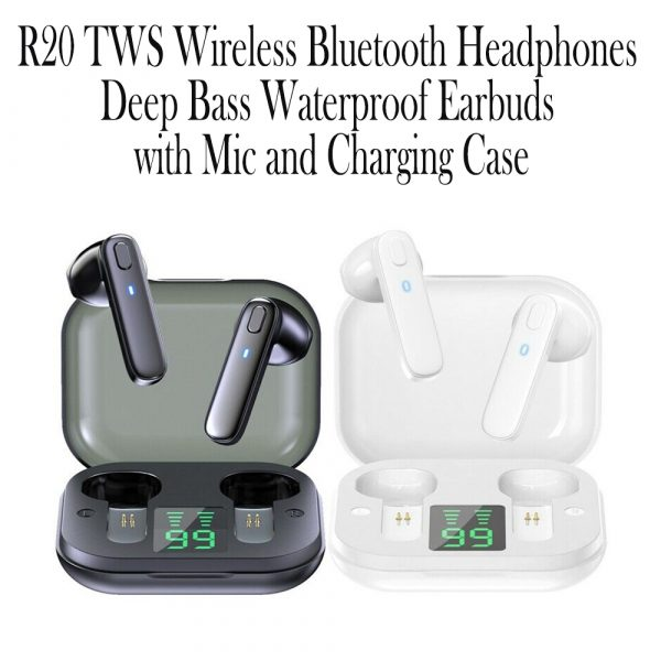 R20 TWS Wireless Bluetooth Headphones deep Bass Waterproof Earbuds with Mic and Charging Case_9