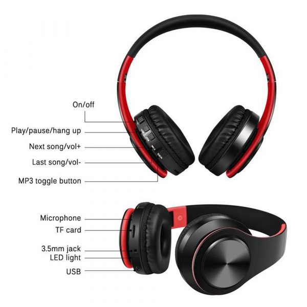 Foldable Wireless Bluetooth Headphones Hands-free Stereo Headset with TF Card Slot_5