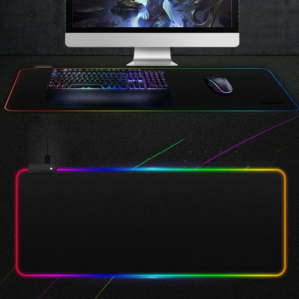 RGB LED Non-Slip Luminous Mouse Pad for Gaming PC Keyboard Cover Base Computer Mat_11