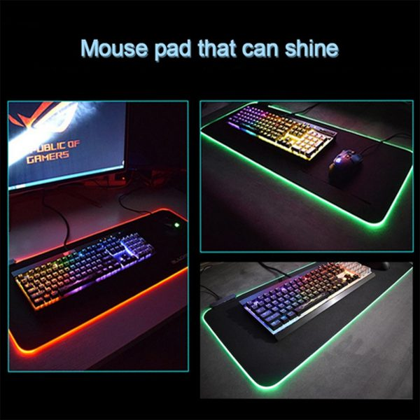 RGB LED Non-Slip Luminous Mouse Pad for Gaming PC Keyboard Cover Base Computer Mat_10