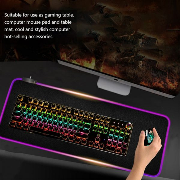 RGB LED Non-Slip Luminous Mouse Pad for Gaming PC Keyboard Cover Base Computer Mat_5