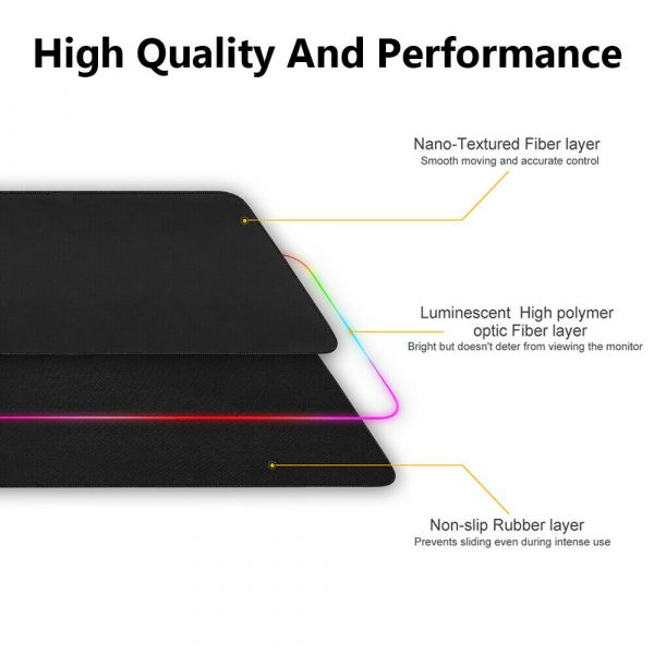 RGB LED Non-Slip Luminous Mouse Pad for Gaming PC Keyboard Cover Base Computer Mat_6