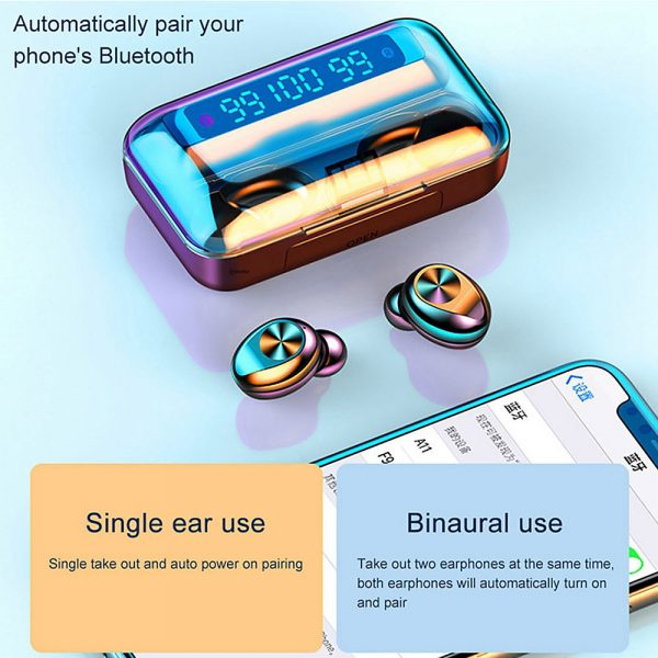 Wireless Waterproof Bluetooth 5.0 Earphones with 1200mAh Charging Box and Mic Sports Earbuds Headsets_4