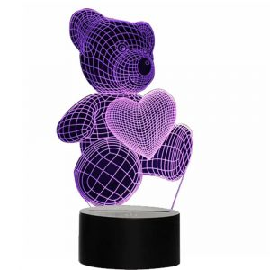 3D Acrylic Teddy Bear 7 Color Night Light Bedside Table Light for Children's Room Decoration
