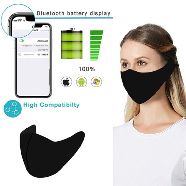 Washable Fabric Musical Bluetooth USB Rechargeable Unisex Face Mask_1