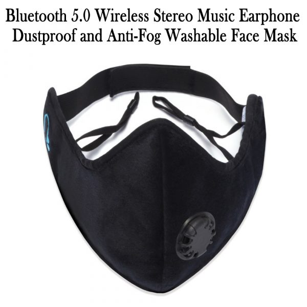 Bluetooth 5.0 Wireless Stereo Music Earphone Dustproof and Anti-Fog Washable Face Mask_2