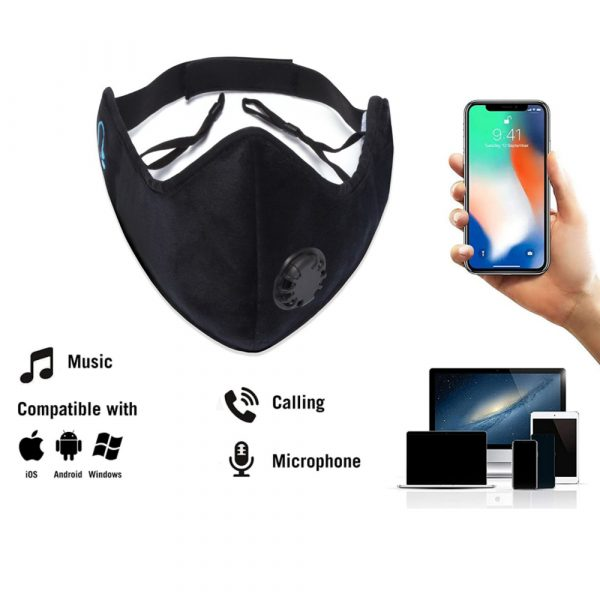 Bluetooth 5.0 Wireless Stereo Music Earphone Dustproof and Anti-Fog Washable Face Mask_5