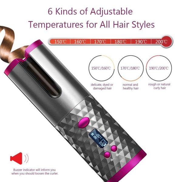 USB Rechargeable Cordless Auto-Rotating Ceramic Portable Hair Curler_0