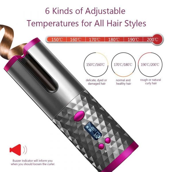 USB Rechargeable Cordless Auto-Rotating Ceramic Portable Women's Hair Curler_5
