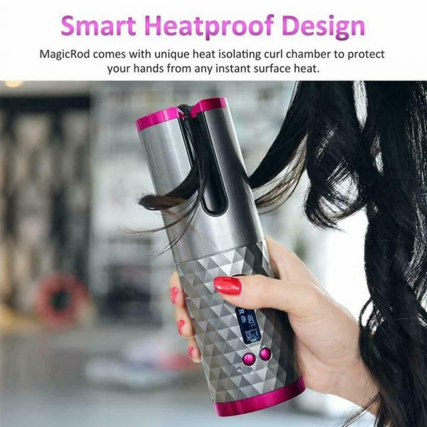 USB Rechargeable Cordless Auto-Rotating Ceramic Portable Women's Hair Curler_7