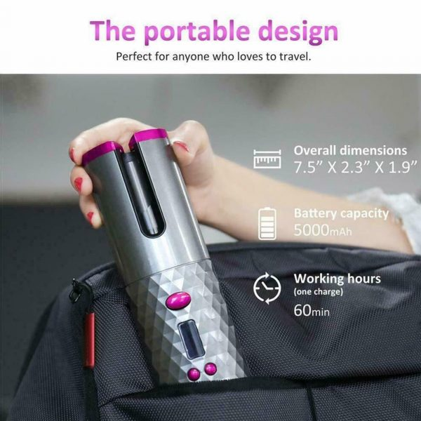 USB Rechargeable Cordless Auto-Rotating Ceramic Portable Women's Hair Curler_9