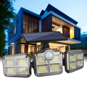 Solar Powered Three Head Motion Sensor Outdoor Solar Light 270 ° Wide Angle Wall Remote Lamp