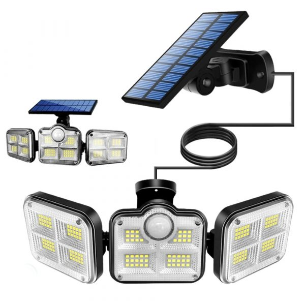 Solar Powered Three Head Motion Sensor Outdoor Solar Light 270 ° Wide Angle Wall Remote Lamp_2