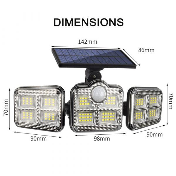 Solar Powered Three Head Motion Sensor Outdoor Solar Light 270 ° Wide Angle Wall Remote Lamp_4