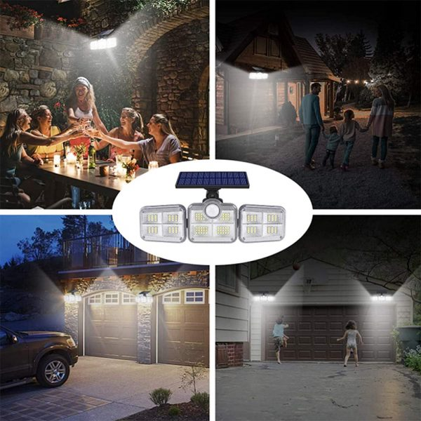 Solar Powered Three Head Motion Sensor Outdoor Solar Light 270 ° Wide Angle Wall Remote Lamp_8