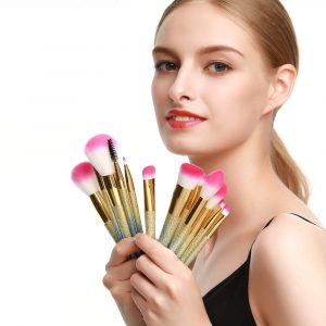 16-pcs Full Sized Cone Shaped Makeup Brush Set for Liquid and Powder Makeup