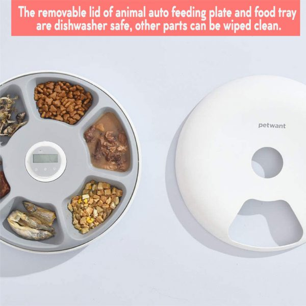 Intelligent Wet & Dry Food Dispenser 6-Compartments 180ml Cat and Dog Pet Auto-Feeder_4