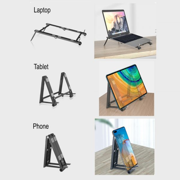 3-in-1 Multi-Function Folding Rack Bracket for Laptop Tablet and Phone Stand Holder_4