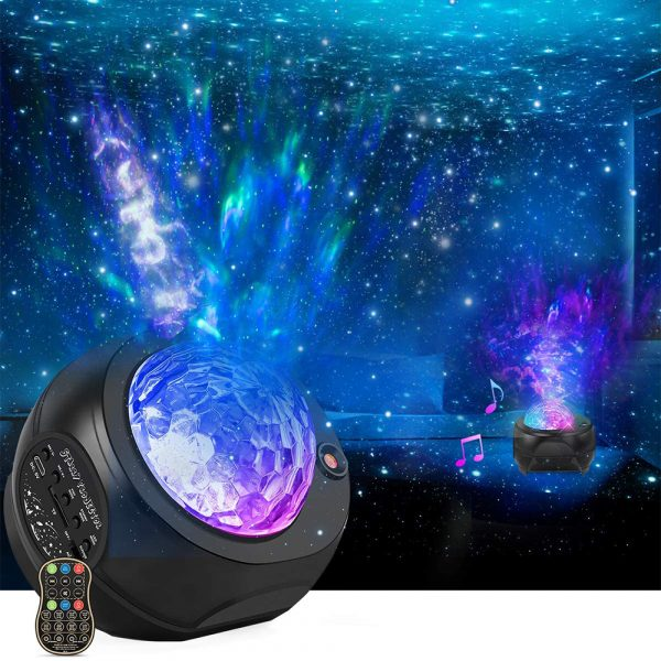 Colorful LED Star Night Light and Rotating Ocean Wave Projector and BT Musical Nebula Lamp_2