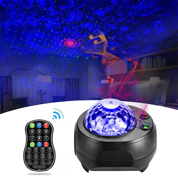 Colorful LED Star Night Light and Rotating Ocean Wave Projector and BT Musical Nebula Lamp_3
