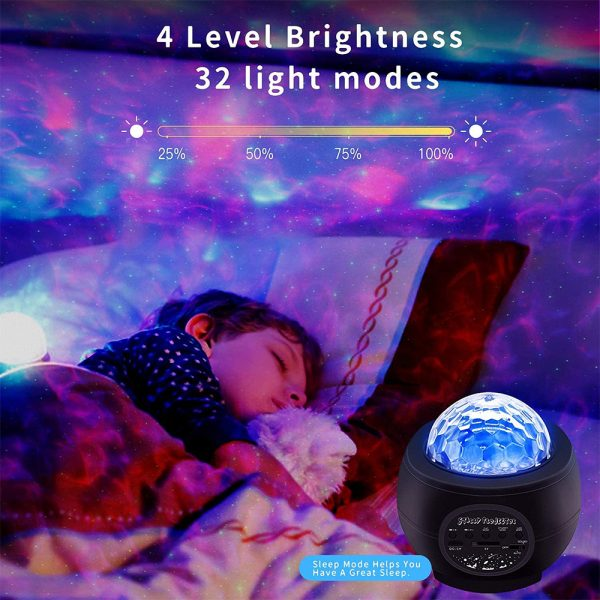 Colorful LED Star Night Light and Rotating Ocean Wave Projector and BT Musical Nebula Lamp_8