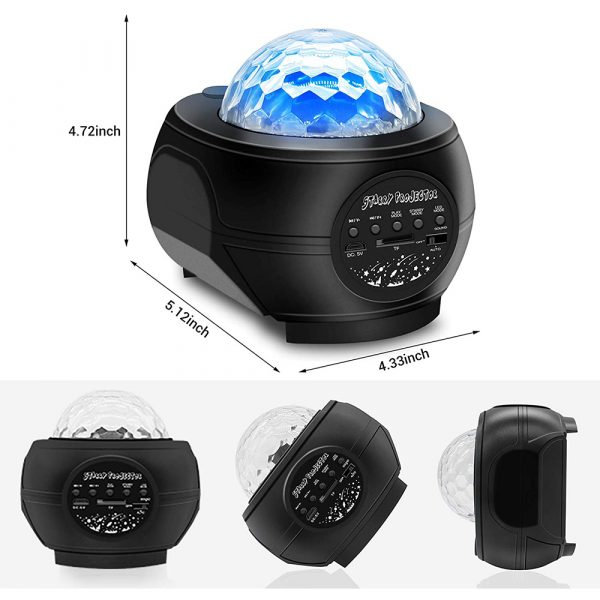 Colorful LED Star Night Light and Rotating Ocean Wave Projector and BT Musical Nebula Lamp_9