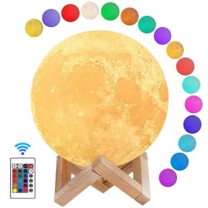 3D Printed Moonlight Lamp in 16 Colors with Remote Control for Bedroom and Home Decoration