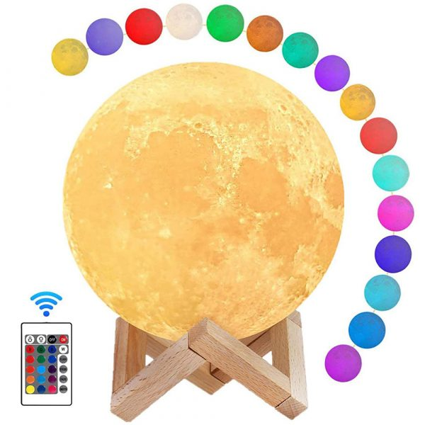 3D Printed Moonlight Lamp in 16 Colors with Remote Control for Bedroom and Home Decoration_0