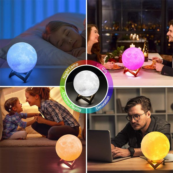 3D Printed Moonlight Lamp in 16 Colors with Remote Control for Bedroom and Home Decoration_12