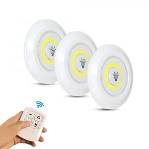 Touch and Remote-Controlled Wireless LED Dimmable Closet Kitchen Wardrobe Puck Lights