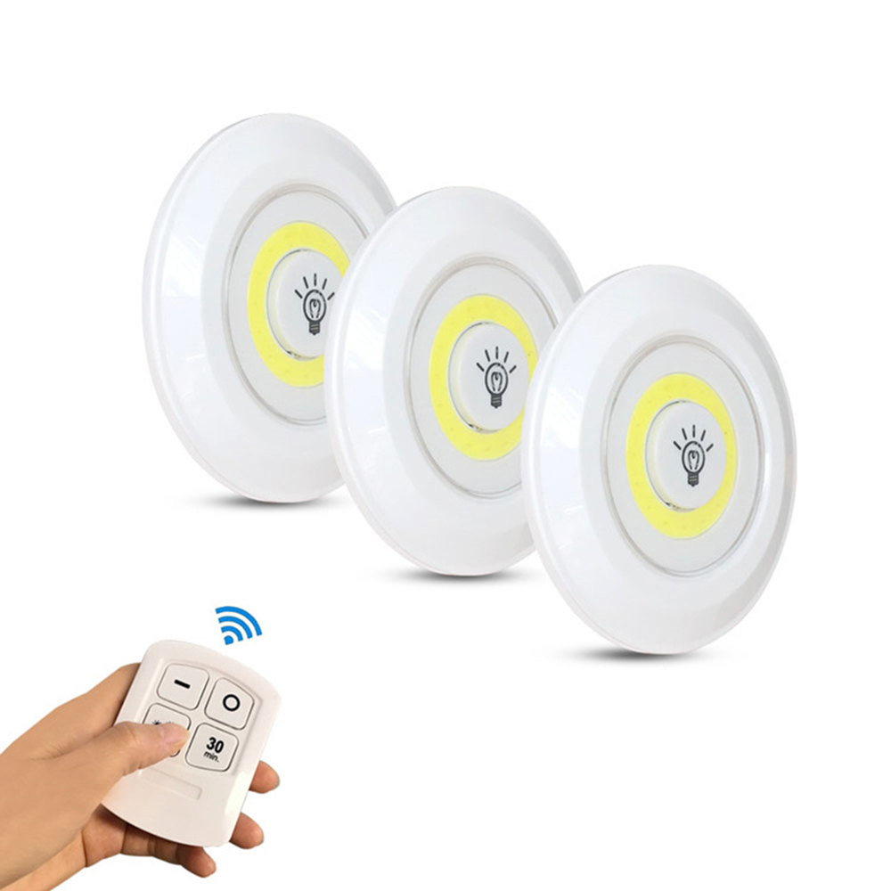 Touch and Remote-Controlled Wireless LED Dimmable Closet Kitchen Wardrobe Puck Lights_0