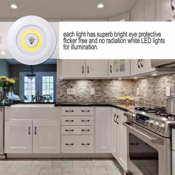 Touch and Remote-Controlled Wireless LED Dimmable Closet Kitchen Wardrobe Puck Lights_7